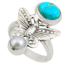 4.55cts blue arizona mohave turquoise 925 silver butterfly ring size 7.5 r2043
