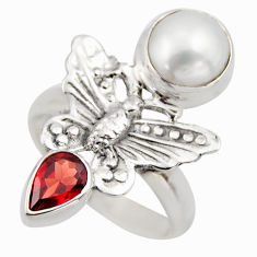 5.42cts natural white pearl red garnet 925 silver butterfly ring size 8 r2051