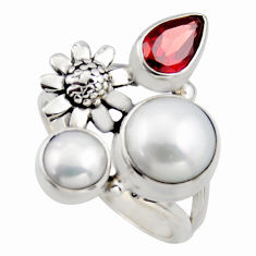925 silver 6.49cts natural white pearl red garnet flower ring size 7.5 r2055