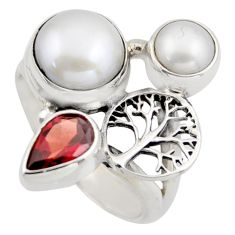 6.78cts natural white pearl garnet 925 silver tree of life ring size 7 r2057