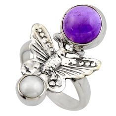 5.97cts natural purple amethyst pearl 925 silver butterfly ring size 7.5 r2065