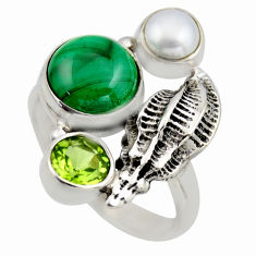 7.09cts natural green malachite (pilot's stone) 925 silver ring size 9 r2072