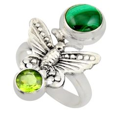 925 silver 5.30cts natural malachite (pilot's stone) butterfly ring size 7 r2073