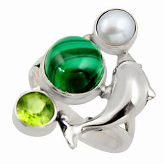 7.23cts natural green malachite 925 silver dolphin ring jewelry size 7.5 r2075