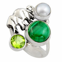 6.54cts natural malachite (pilot's stone) 925 silver elephant ring size 7 r2077