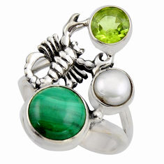 6.76cts natural green malachite 925 silver scorpion charm ring size 7.5 r2079