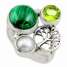 925 silver 6.32cts natural green malachite pearl tree of life ring size 6 r2080