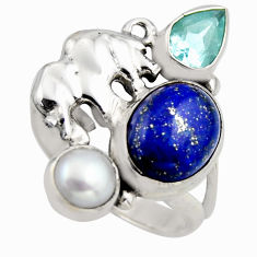 7.07cts natural blue lapis lazuli topaz 925 silver elephant ring size 7 r2081