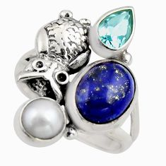 7.22cts natural blue lapis lazuli topaz pearl 925 silver owl ring size 8 r2082