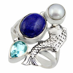 925 silver 6.76cts natural blue lapis lazuli topaz pearl fish ring size 8 r2088