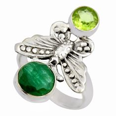 4.38cts natural green emerald peridot 925 silver butterfly ring size 8 r2091