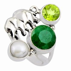 925 silver 5.53cts natural green emerald peridot elephant ring size 6.5 r2092
