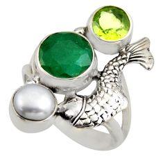 5.60cts natural green emerald peridot pearl 925 silver fish ring size 6.5 r2097