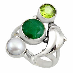 925 silver 5.32cts natural green emerald peridot dolphin ring size 7.5 r2099