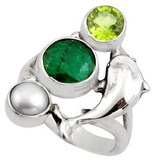 5.08cts natural green emerald peridot pearl 925 silver dolphin ring size 8 r2100