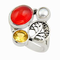 6.58cts natural orange cornelian 925 silver tree of life ring size 6 r2101