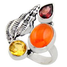 925 silver 6.18cts natural orange cornelian (carnelian) garnet ring size 8 r2103