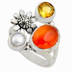 6.08cts natural orange cornelian (carnelian) silver flower ring size 6.5 r2104