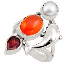 7.10cts natural orange cornelian (carnelian) silver dolphin ring size 7.5 r2106