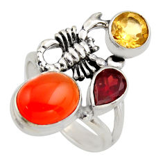 6.62cts natural orange cornelian 925 silver scorpion charm ring size 7 r2108