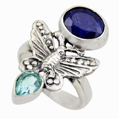 6.08cts natural blue sapphire topaz 925 silver butterfly ring size 7 r2111