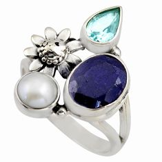 7.07cts natural blue sapphire topaz 925 sterling silver flower ring size 9 r2114