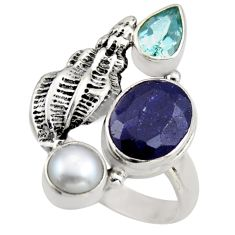 7.28cts natural blue sapphire topaz pearl 925 sterling silver ring size 9 r2115