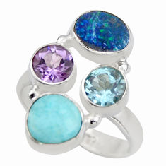 925 silver 6.48cts natural blue larimar purple amethyst topaz ring size 8 r2123