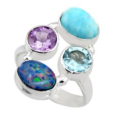 6.03cts natural blue larimar amethyst topaz 925 silver ring size 6.5 r2125