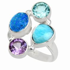 6.26cts natural blue larimar amethyst topaz 925 silver ring size 8 r2126