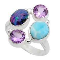 925 silver 6.26cts natural blue larimar purple amethyst ring size 8.5 r2127