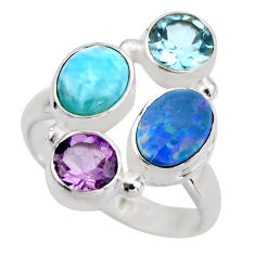 5.93cts natural blue larimar amethyst topaz 925 silver ring size 7.5 r2129