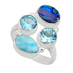 5.53cts natural blue larimar topaz 925 sterling silver ring size 6.5 r2131