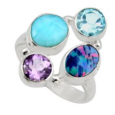 925 silver 5.97cts natural blue larimar amethyst topaz ring size 7.5 r2132