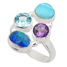 5.75cts natural blue larimar amethyst topaz 925 silver ring size 8 r2133