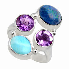 925 silver 5.52cts natural blue larimar purple amethyst ring size 5.5 r2139