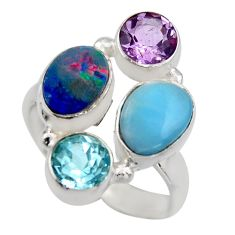 5.97cts natural blue larimar amethyst topaz 925 silver ring size 7.5 r2140