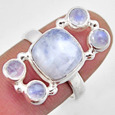 925 sterling silver 7.22cts natural rainbow moonstone ring size 7.5 r2150