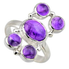 6.18cts natural purple amethyst 925 sterling silver ring jewelry size 8.5 r2188