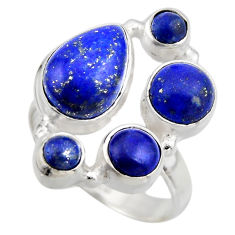 7.58cts natural blue lapis lazuli 925 sterling silver ring size 7.5 r2202