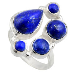 7.36cts natural blue lapis lazuli 925 sterling silver ring size 7.5 r2203