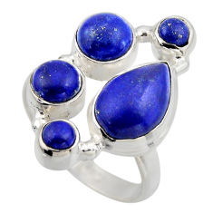 925 sterling silver 7.36cts natural blue lapis lazuli ring size 8.5 r2204