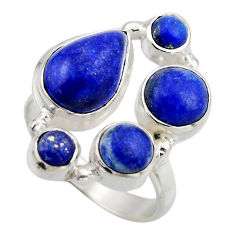 925 sterling silver 7.36cts natural blue lapis lazuli ring size 7.5 r2207