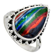 10.31cts natural rainbow calsilica 925 silver solitaire ring size 8 r2581