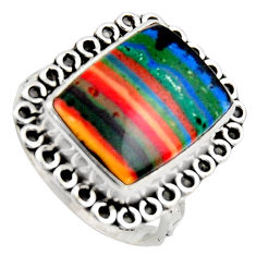 9.47cts natural rainbow calsilica 925 silver solitaire ring size 8.5 r2593