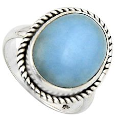 10.29cts natural blue angelite 925 sterling silver solitaire ring size 7 r2601