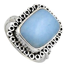 925 sterling silver 7.30cts natural blue angelite solitaire ring size 8 r2604