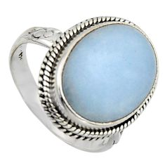 12.60cts natural blue angelite 925 sterling silver solitaire ring size 8 r2605