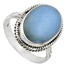 10.24cts natural blue angelite 925 sterling silver solitaire ring size 9 r2606