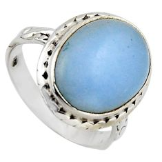 8.91cts natural blue angelite 925 sterling silver solitaire ring size 7.5 r2607